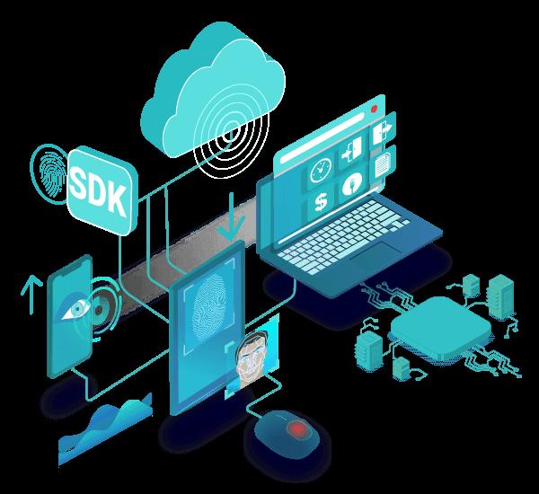 Fingerprint, finger vein, iris biometrics softwares, API, SDK integration cloud applications for identity management using biometric scanners readers